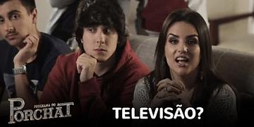 Porchat apresenta aparelho de TV a Kéfera, Whindersson e Castanhari