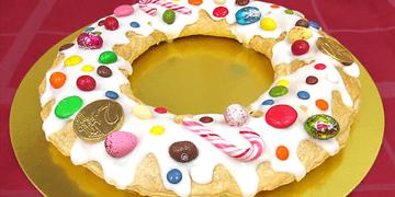 Roscón de Reyes de hojaldre con Nutella