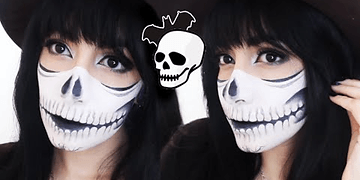 ➾ Maquillaje De Media Calavera Para Halloween ✧ (FÁCIL) ✧ Miranda Ibañez